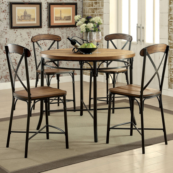 Furniture Of America Merrits Industrial 5 Piece Bronze Round Counter Height  Dining Set