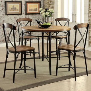 Furniture of America Merrits Industrial 5-piece Bronze Round Counter Height Dining Set