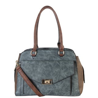 Diophy Two Tone Faux Leather Front Turn Lock Large Tote Bag