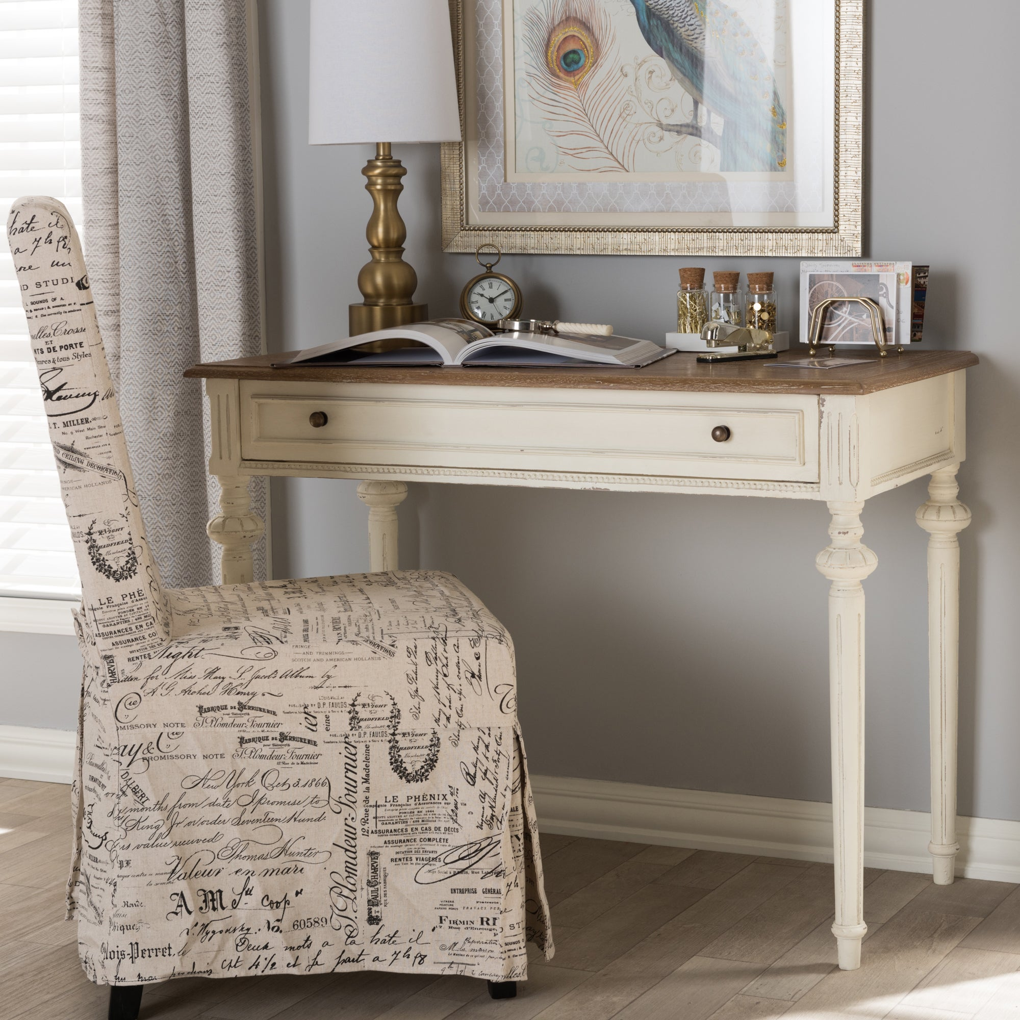 Baxton Studio French Provincial Weathered Oak and Whitewa...