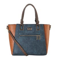 Diophy Faux Leather 2-tone Front Zippered Pocket Multi-spaced Large Tote Bag