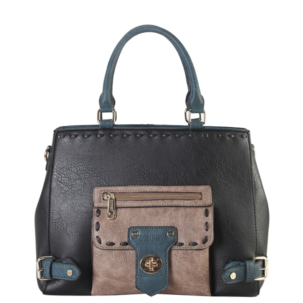 Diophy Tri Tone Faux Leather Buckle Front Locking Tote Bag