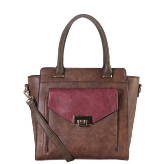 Diophy Front Push Lock Pocket Two-tone Structured Tote Bag