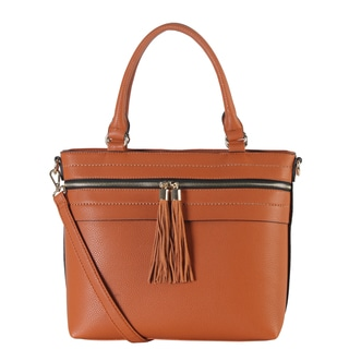 Diophy Double Zipper Tassel Tote Bag