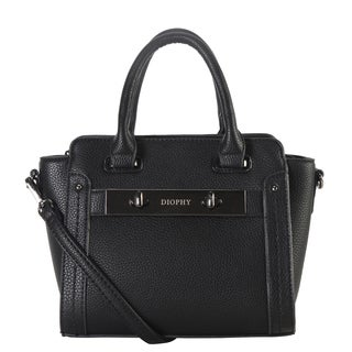 Diophy Black Faux-leather Small Trapeze Satchel Handbag with Removable Strap