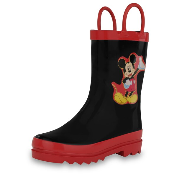 Disney Mickey Mouse Toddlers' Black Rubber Rain Boots