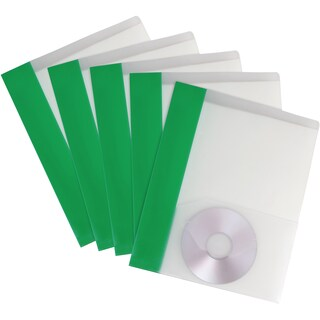 Storex Clear with Green Stripe Poly 2-pocket Folder 25-pack