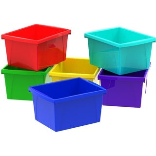 Storex Assorted Plastic 1.5 L Storage Bin (Pack of 6)