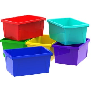Storex 5.5-Gallon /21-liter Classroom Storage Bin ,Assorted Colors (6 units/pack )