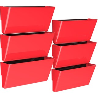 Storex Red Plastic Legal-size Magnetic Wall Pocket (Pack of 6)