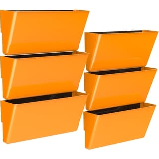 Storex Class Orange Plastic Legal Magnetic Wall Pocket (Pack of 6)