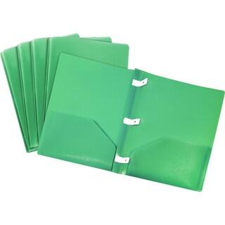 Storex Green Plastic Pronged Pocket Folder (Case of 18)
