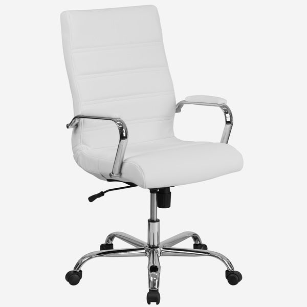 Galaxy High Back Horizontal Stitching White Leather Executive Adjustable Swivel Office Chair