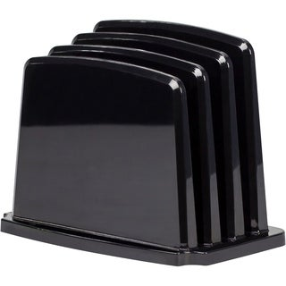 Storex Modern Gloss Vertical Sorter, Black, 4-Pack