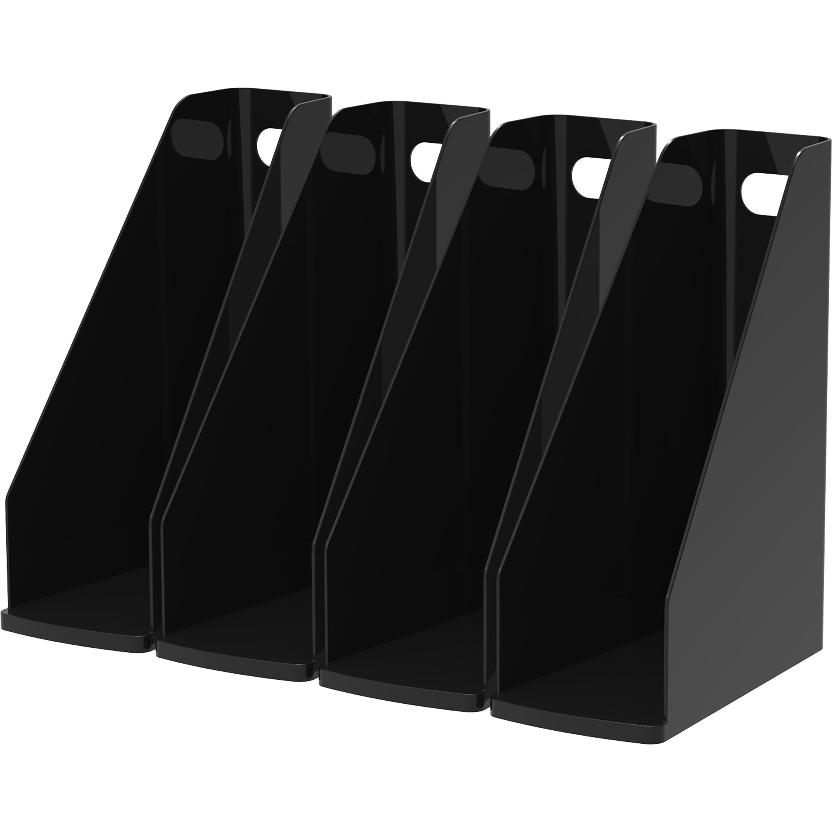 Storex Modern Black Gloss Magazine File (Pack of 4) (4 Pa...