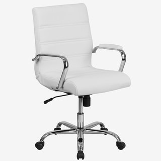 Galaxy Mid-back Horizontal Stitching White Leather Executive Adjustable Swivel Office Chair