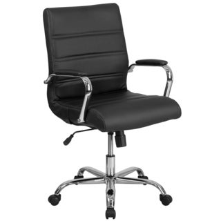 Galaxy Mid-back Horizontal Stitching Black Leather Executive Adjustable Swivel Office Chair