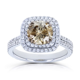 Annello by Kobelli 14k White Gold 2 1/4ct TDW Mixed Brown and White Diamond Double Halo Ring