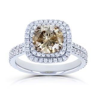 Annello by Kobelli 14k White Gold 2 1/4ct TDW Mixed Brown and White Diamond Double Halo Ring (GH, I1-I2)