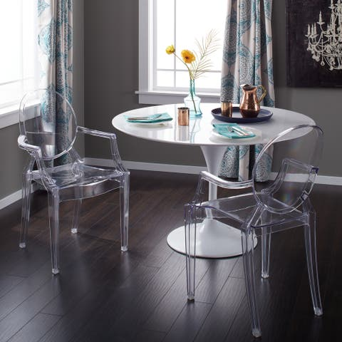 Corvus Irene Modern Clear Acrylic Dining Chair with Armrests (Set of 2)