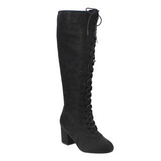 Bella Marie Women's AD85 Lace-up Block Heel Knee-high Combat Boots