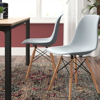 Corvus Winston Eames Style Dining Chair with Wood Legs (Set of 2)