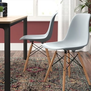 Corvus Winston Eames Style Side Chair with Wood Legs (Set of 2)