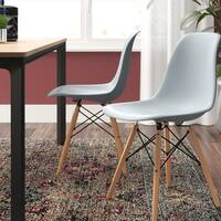 Vecelo Eames Side Chair With Natural Wood Legs Set Of 4
