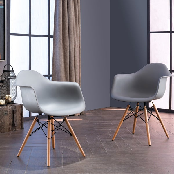 Corvus Siena Eames Style Accent Chairs with Wood Legs (Set of 2)