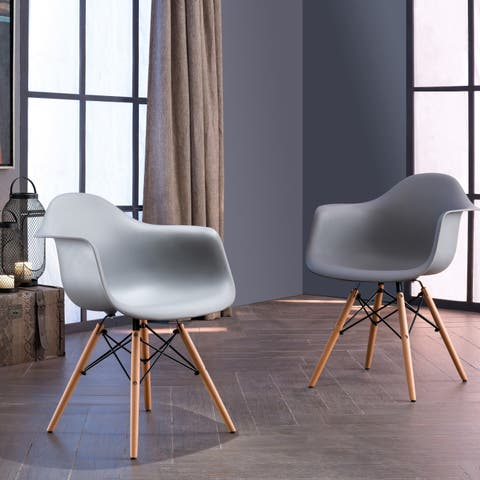 Siena Modern Dining Chairs with Wood Legs by Corvus (Set of 2)