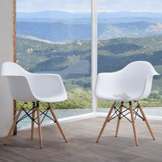 Siena Modern Dining Chairs with Wood Legs by Corvus (Set of 2) (Option: White)