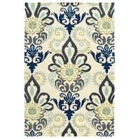 Hand-Tufted de Leon Blue Damask Rug - 8' x 10'