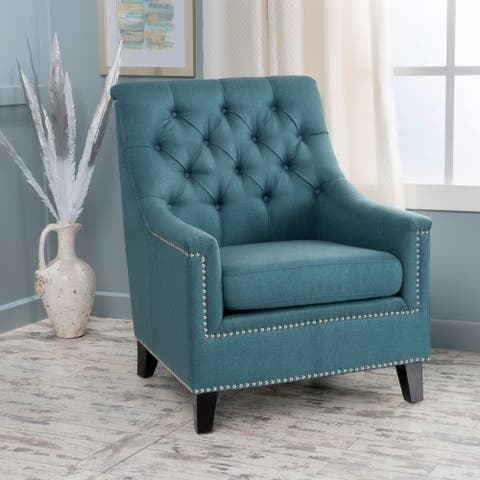 Jaclyn Tufted Fabric Club Chair by Christopher Knight Home