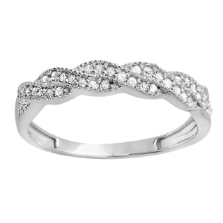 18K Gold 1/4 ct. TDW Round Diamond Ladies Anniversary Wedding Stackable Band Swirl Ring (H-I, I1-I2)