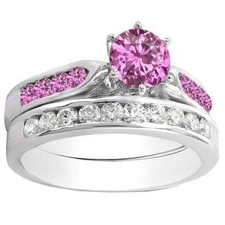10k Gold 1ct TW Round Pink Sapphire and White Diamond Bridal Ring Set (H-I, I1-I2 )