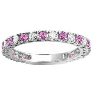 14K White Gold 1 ct. Round Pink Sapphire & White Diamond Eternity Sizeable Wedding Band (H-I & Pink,I1-I2 & Highly Included)