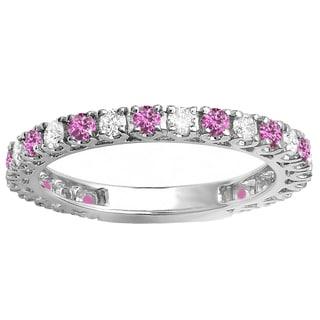 18k White Gold 1ct TW Round Pink Sapphire and White Diamond Sizeable Wedding Band (H-I, I1-I2 )