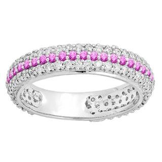 14k White Gold 1 1/3ct TW Round White Diamond and Pink Sapphire Eternity Ring (H-I, I1-I2 )