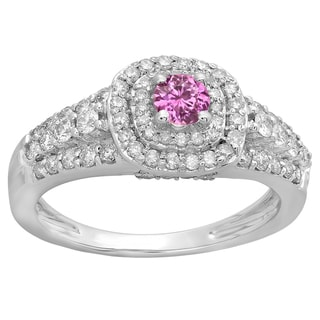10k Gold 1/4ct TW Round-cut Pink Sapphire and Diamond Accent Bridal Halo Ring (H-I, I1-I2 )
