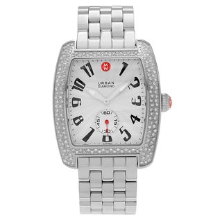 Michele Women's MWW02M000002 'Urban' Stainless Steel 1 CT TDW Diamond Link Watch