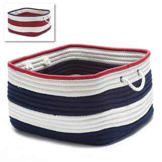 Colonial Mills American-stripe Red/White/Blue Polypropylene Large Rectangle Rope Handle Storage Basket