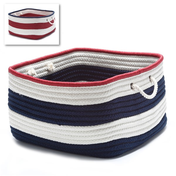 Colonial Mills American Stripe Rope Handle 12-inch Long x 8-inch Wide x 6-inch High Small Rectangular Storage Basket