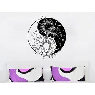 Yin Yang Symbol Sun Moon Sunshine Stars Crescent Dual Ethnic Stars Night Symbol Sticker Decal size 3
