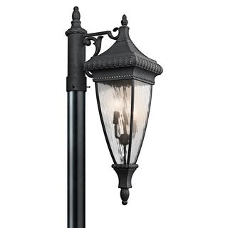 Kichler Lighting Venetian Rain Collection 3-light Black w/Gold Accents Outdoor Post Mount