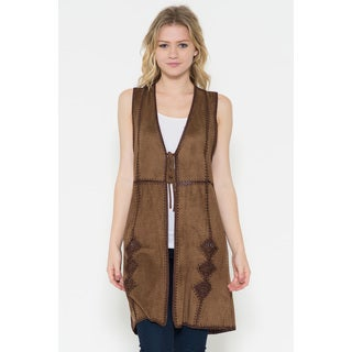 Women's Mocha Suede Embroidered Vest