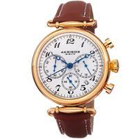 Akribos XXIV Ladies Chronograph Brown Genuine Leather Strap Watch