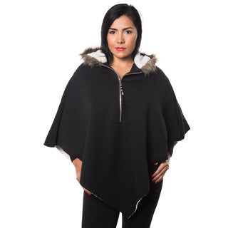 Special One Women's Faux Fur Lined Casual Loose Bat Sleeves Hooded Sweater