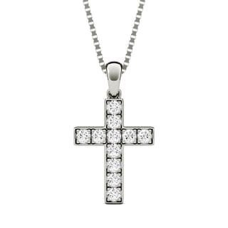Charles & Colvard 14k White Gold 0.22 TCW Forever Classic Moissanite Cross Pendant