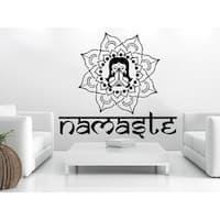Mandala Wall Decal Namaste Flower Mandala Indian Lotus Yoga Sticker Decal size 33x39 Color Black