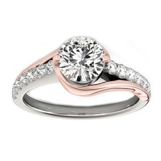 Transcendent Brilliance 14K Gold 1 1/3ct TDW Diamond Curved Engagement Ring (VS1-VS2, F-G)